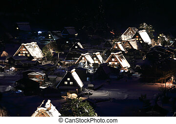 Light up of Shirakawago, Japan - World Heritage, Light up of...