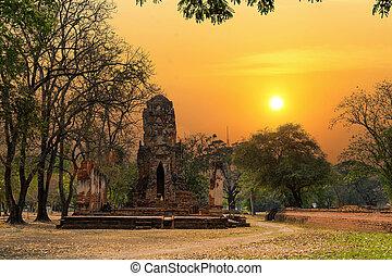 World Heritage Site at Wat Mahathat Ayutthaya, Thailand