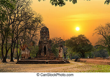 World Heritage Site at Wat Mahathat Ayutthaya, Thailand