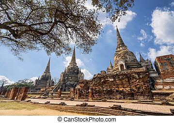 World Heritage Site at Wat Phra Si Sanphet. Ayutthaya, Thailand.