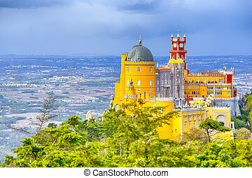 World Heritage Travel Destinations. Ancient Pena Palace of King Family in Sintra, Portugal. Horizontal Image Composition