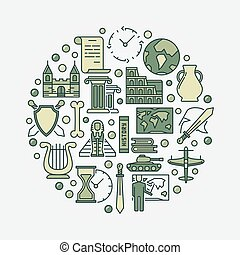 World history illustration. Vector round colorful history and knowledge symbol made with flat icons