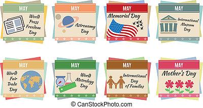 World holidays. May