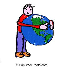 World Hug - A boy holding the globe - a childlike drawing
