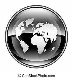 world icon black, isolated on white background.