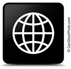 World icon black square button