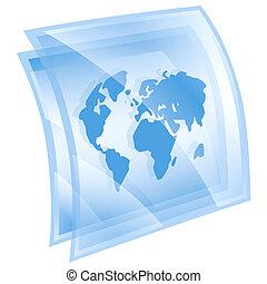 world icon blue, isolated on white background