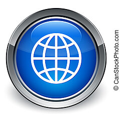 World icon glossy blue button