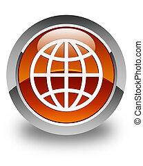 World icon glossy brown round button