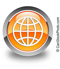 World icon glossy orange round button