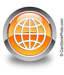 World icon glossy orange round button