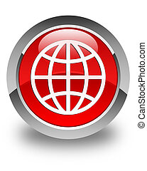 World icon glossy red round button