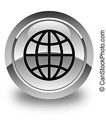 World icon glossy white round button