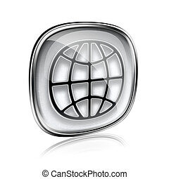 World icon grey glass, isolated on white background.