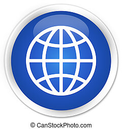 World icon premium blue round button