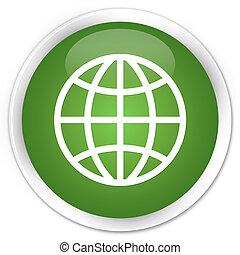 World icon premium soft green round button