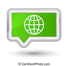 World icon prime soft green banner button