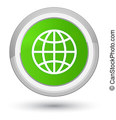 World icon prime soft green round button