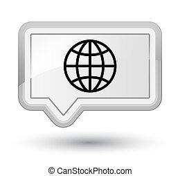 World icon prime white banner button