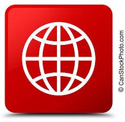 World icon red square button
