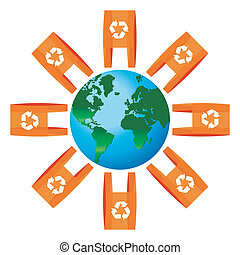 World icon rounded for bags with recycling symbol