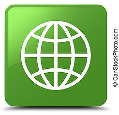 World icon soft green square button