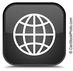World icon special black square button