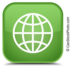 World icon special soft green square button