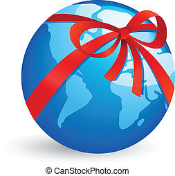World icon with red ribbon