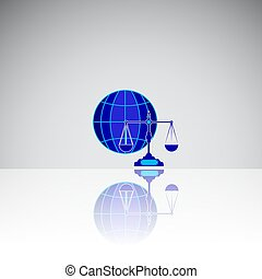 World icon with scales, Libra sigh creative illustration for web and print business icon,