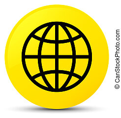 World icon yellow round button