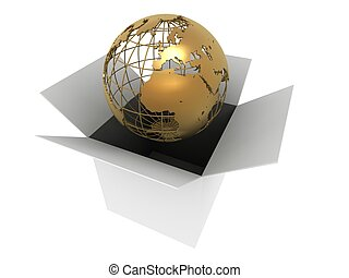 world in a box - 3d rendered illustration of a golden globe...
