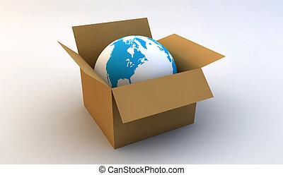 World in a cardboard box