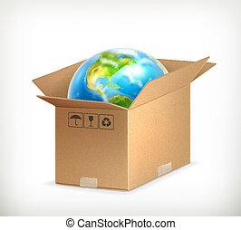 World in box, vector
