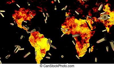 World in flames falling bullets