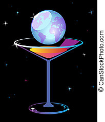 World in glass of martini