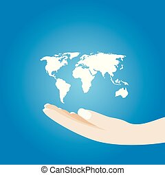 World in hands, global business on background blue. Vector illustration