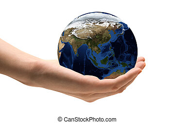 World in Hands - Human hand holding the world in hands Map...