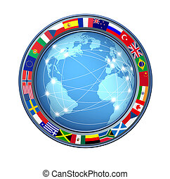 World Internet connections with ring of global flags showing...