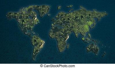 world islands in green ocean
