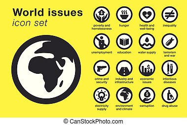 World issues icons set. Sustainability problems.