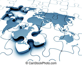 World jigsaw - 3D render of a jigsaw of the world with a...