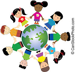 kids around globe , united togather from different nationalities and places