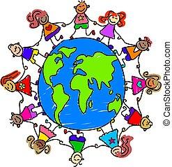 diverse kids holding hands around the world