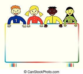 world., kinderen, kleurrijke