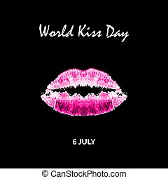 World Kiss Day. 6 July. Watercolor pink lips. Imprint of lips and kiss. Print. Vector illustration on a black background
