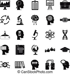 World knowledge icons set, simple style