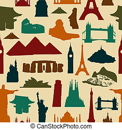 World landmark silhouettes pattern