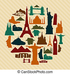 World landmark silhouettes elements set. Vector file layered for easy manipulation and custom coloring.