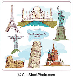World landmark sketch colored